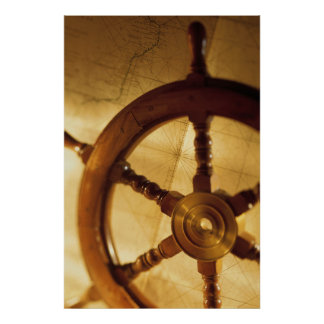 Ship'S Wheel And Map Poster