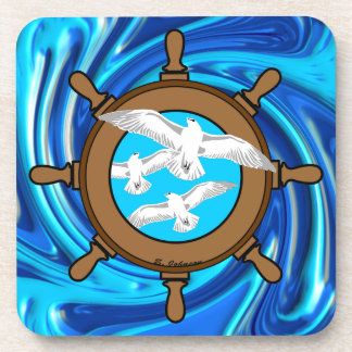 Ships Wheel and Seagulls Drink Coaster