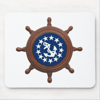 Ship's Wheel and Yacht Flag Stars and Anchor Mouse Pad