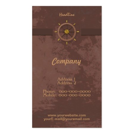 Red Walnut Brown Ships Wheel Business Cards