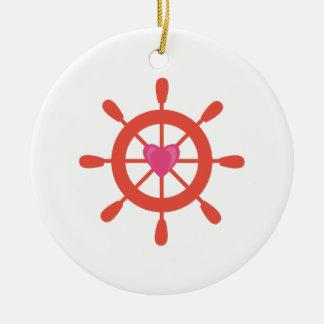 Ships Wheel Ceramic Ornament