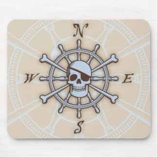 Ship's Wheel Compass Rose Mouse Pad
