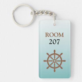 Ships Wheel Hotel Room Numbered Key Keychain