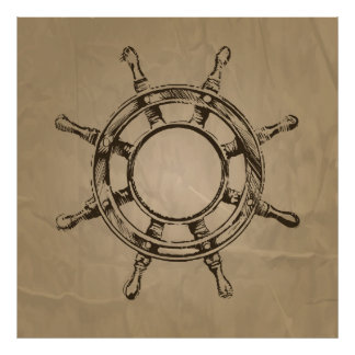 Ship's wheel illustration on paper background poster