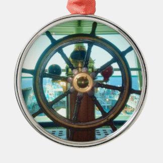 Ship's Wheel Metal Ornament