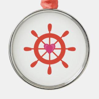 Ships Wheel Metal Ornament