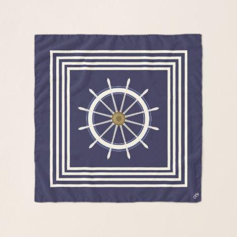 Ship's Wheel Nautical Seas Square Chiffon Scarf