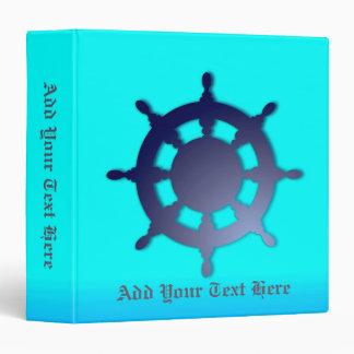 Ship's Wheel On Blue Background 3 Ring Binder