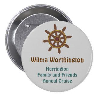 Ship's Wheel on Gray Name Badge Pinback Button