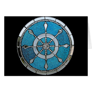 Ships Wheel Stained Glass Notecard Stationery Note Card