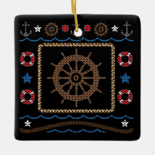 Ships Wheel Ugly Christmas Sweater Ornament