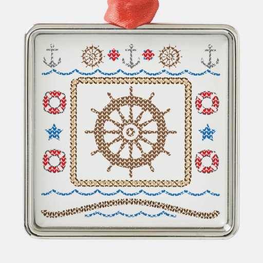 Ship's Wheel Ugly Christmas Sweater Ornament