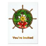 Ship's Wheel Wreath 5x7 Paper Invitation Card
