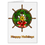 Ship's Wheel Wreath Greeting Card