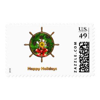 Ship's Wheel Wreath Postage Stamp