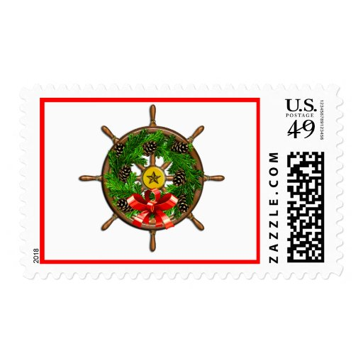 Ship's Wheel Wreath Postage Stamps