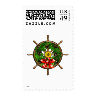 Ship's Wheel Wreath Stamps