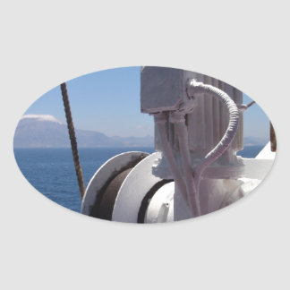 Ship's Winch And The African Coast Oval Sticker