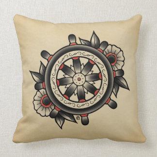 Shipwheel Tattoo Flash Throw Pillow