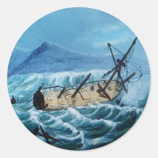 Shipwreck 1 classic round sticker