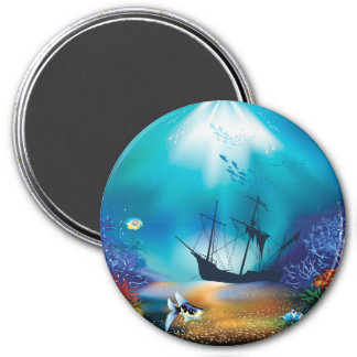 Shipwreck 3 Inch Round Magnet