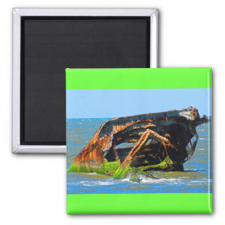 Shipwreck Abstract Blue 2 Inch Square Magnet