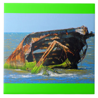 Shipwreck Abstract Blue Ceramic Tile