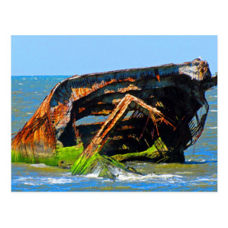 Shipwreck Abstract Blue Postcard