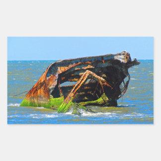 Shipwreck Abstract Blue Rectangular Sticker
