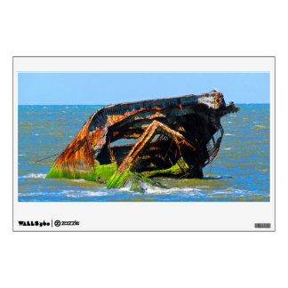 Shipwreck Abstract Blue Wall Sticker