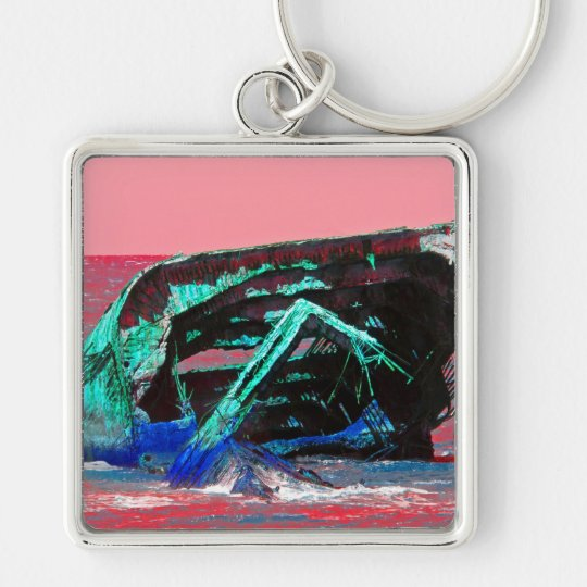 Shipwreck Abstract Pink Keychain