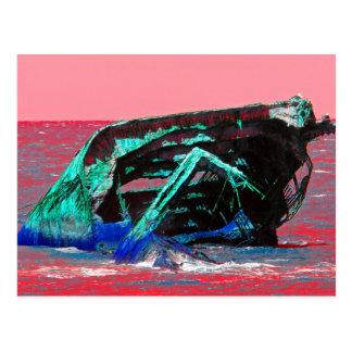 Shipwreck Abstract Pink Postcard