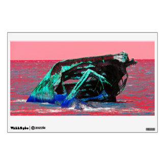 Shipwreck Abstract Pink Wall Sticker