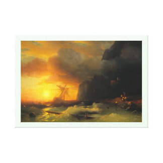Shipwreck at Mount Athos Ivan Aivasovsky seascape Canvas Prints