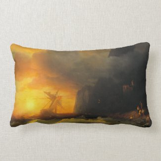 Shipwreck at Mount Athos Ivan Aivasovsky seascape Pillows