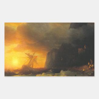 Shipwreck at Mount Athos Ivan Aivasovsky seascape Rectangular Sticker