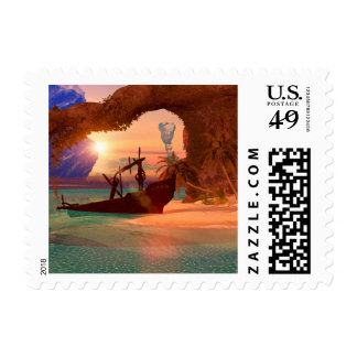 Shipwreck in the sunset stamps