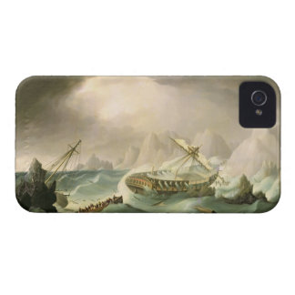 Shipwreck off a Rocky Coast (oil on canvas) iPhone 4 Cases