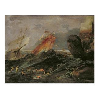 Shipwreck on a Rocky Shore, c.1645-50 Postcard