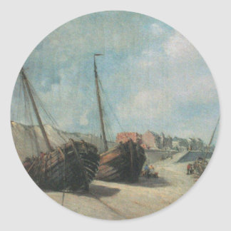 Shipwreck Painting Classic Round Sticker