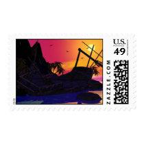 sunset, decor, sun, ship, shipwreck, birds, island, art, water, beach, ocean, nautical, Stamp with custom graphic design
