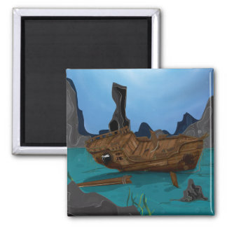 Shipwreck underwater 2 inch square magnet
