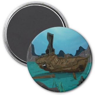 Shipwreck underwater 3 inch round magnet