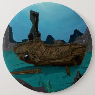 Shipwreck underwater pinback button