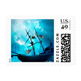 Shipwreck with dolphin stamp