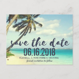 Beach Wedding Save The Date Postcards Zazzle - Beach save the date templates free