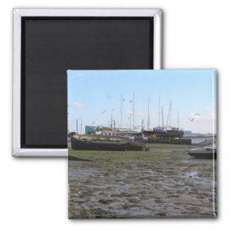 shipwrecked boats at low tide 2 inch square magnet