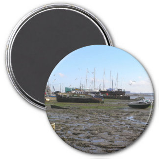 shipwrecked boats at low tide 3 inch round magnet