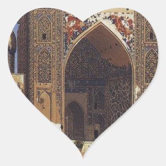 Shir Dor madrasah in Registan Square in Samarkand Heart Sticker