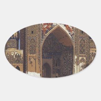Shir Dor madrasah in Registan Square in Samarkand Oval Sticker